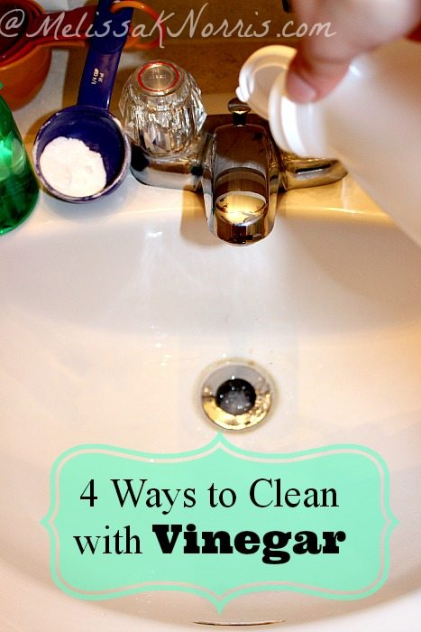 4 Ways to Clean with Vinegar www.MelissaKNorris.com Frugal and recipes for homemade cleaners from the kitchen, to laundry, bathroom, and carpets!