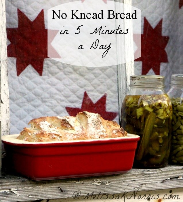 Loaf of homemade bread in a red ceramic loaf pan sitting on a windowsill with two jars of home-canned green beans.