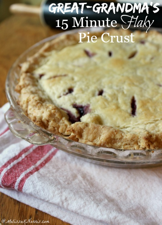 This flaky pie crust whips up in just 15 minutes. Never purchase store bought pie crust again with this easy pie crust. It's her great-grandmother's recipe and I love the secret ingredient that makes this extra flaky, plus, no shortening.