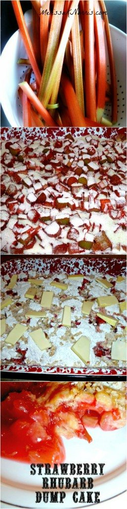 Strawberry Rhubarb Dump Cake with No boxed cake mix!! Recipe at www.melissaknorris.com