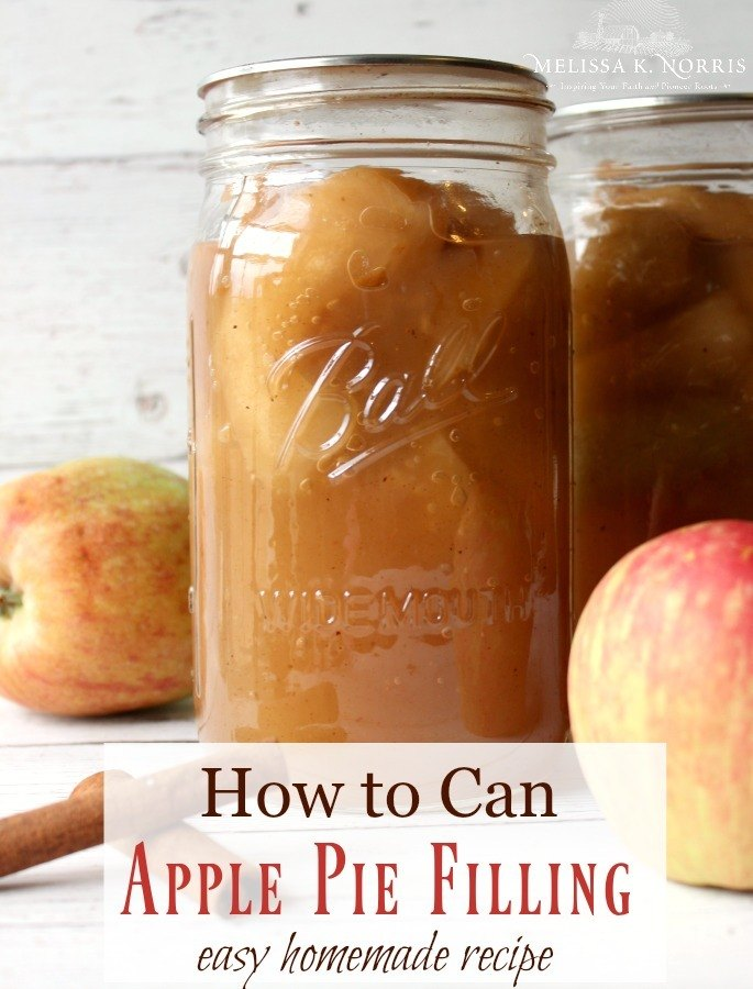 Two canning jars filled with apple pie filling with apples and cinnamon sticks sitting on a wooden table.