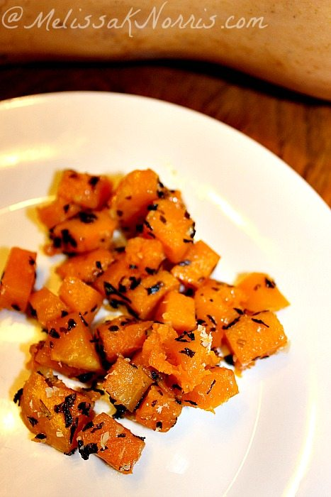 Roasted Garlic and Herb Butternut Squash www.MelissaKNorris.com Super simple recipe, but delicious, and healthy. Even the kids love this one.