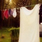 """Image of clothes hanging from a clothesline with the sun setting in the background. Text overlay says, """"5 Reasons to Use a Clothesline""""."""