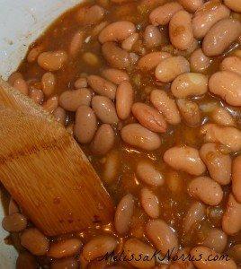 Beans simmering for homemade refried beans