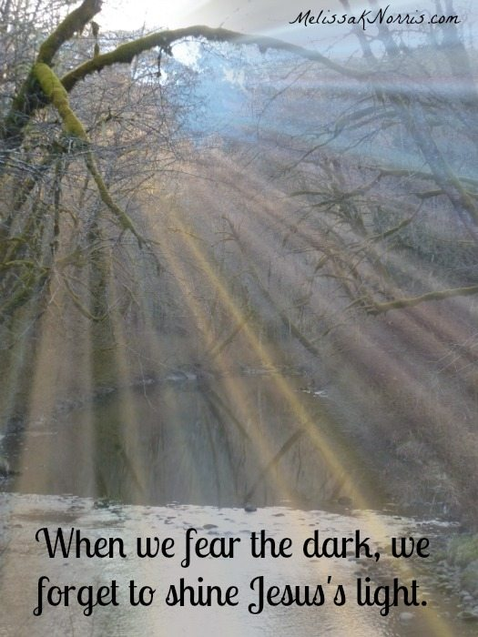When we fear the dark, we forget to shine Jesus's light. www.melissaknorris.com