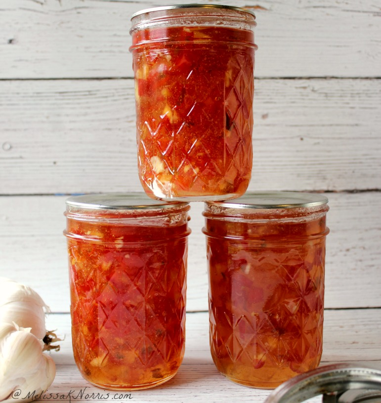 Red Pepper Jelly Recipe, easy delicious appetizer over cream cheese or the perfect glaze for meatballs or chicken