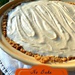 Image of a pumpkin cream pie with text overlay,