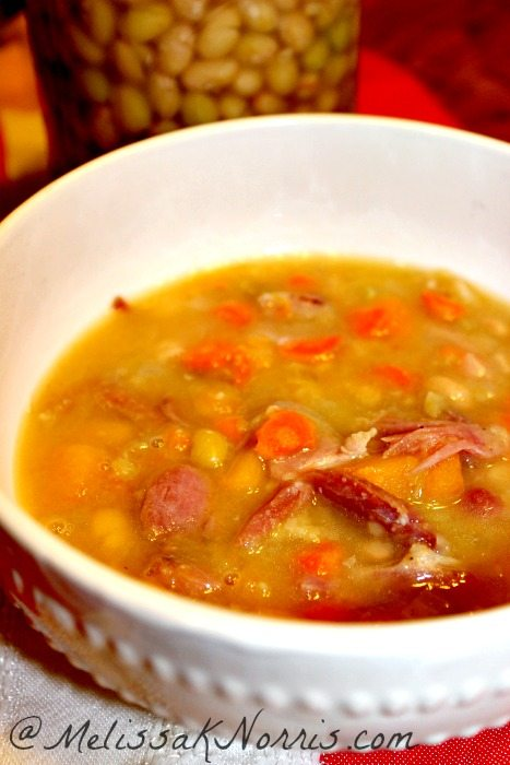 Hearty and healthy bean and ham soup Recipe @MelissaKNorris.com Part of the frugal supper series