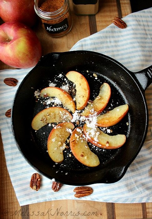 Fried Apple Dessert #paleo style, glutenfree, dairy free, but oh so delicious. It's less than $.65 a serving and only takes 8 minutes total! Recipe at https://melissaknorris.com/2014/01/15/fried-apples-healthy-snack-paleo-dessert-recipe/