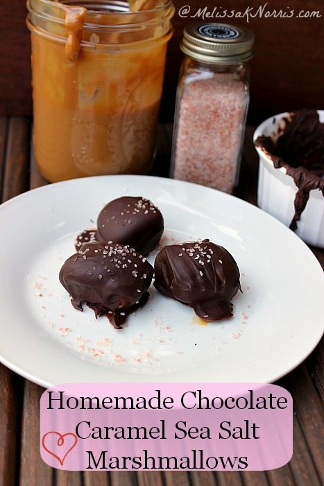 Homemade Chocolate Caramel Covered Sea Salt Marshmallows Recipe here https://melissaknorris.com/2014/02/04/homemade-chocolate-caramel-covered-marshmallows-sea-salt/ These are so easy and best part gluten and gmo free! Perfect for the kids to help make.