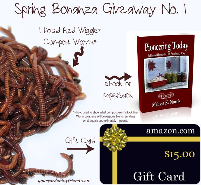 Spring Bonanza Giveaway! Win compost worms, Amazon gift card, and a copy of Pioneering Today