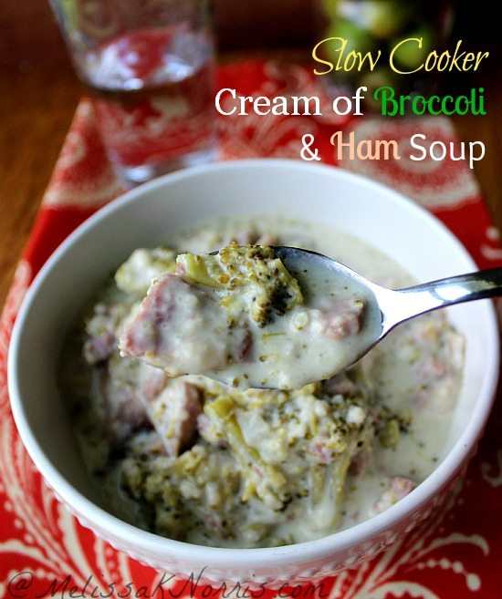 Slow cooker cream of broccoli and ham soup. Gluten free and less than $1.00 per serving. Easy with only 10 minutes of prep time and only real food ingredients. Repin!