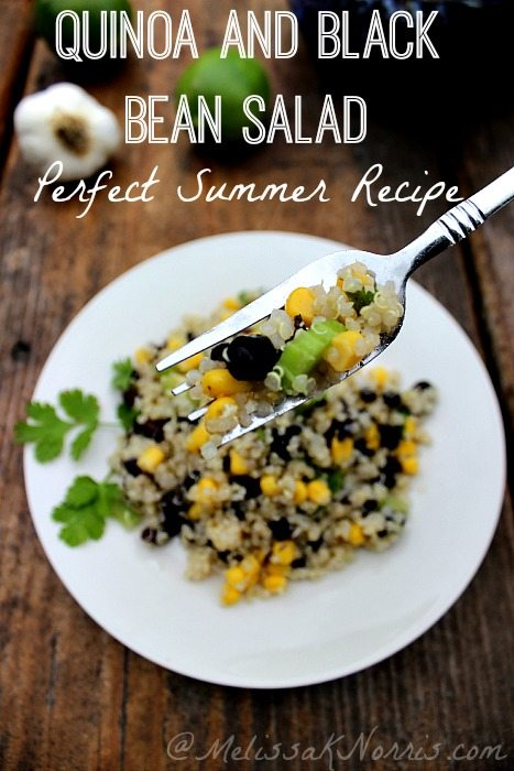 Quinoa and black bean salad. Perfect for summer time, delicious, and did I say frugal. Loving this salad! Had it two nights in a row and making it again.