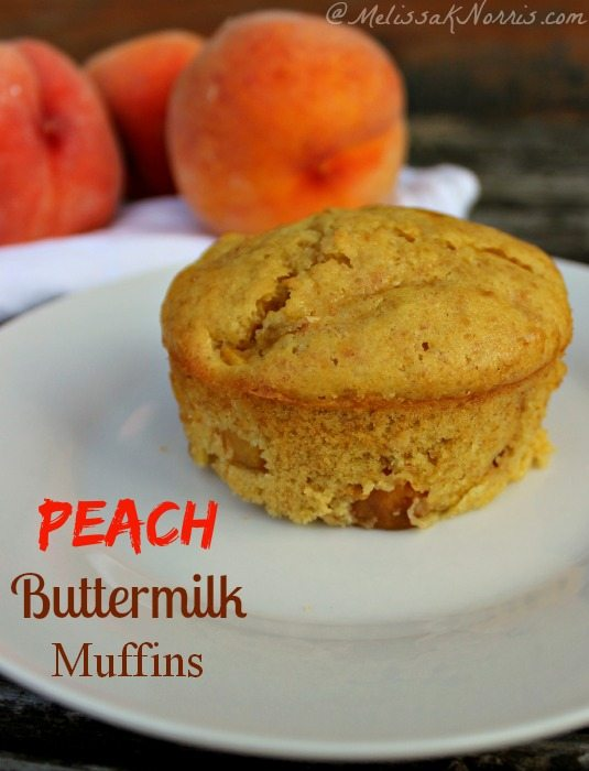Peach buttermilk muffin. Perfect way to hang onto summer and use up some of your ripe peaches.