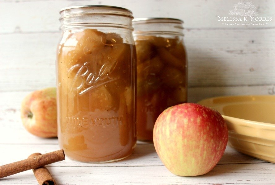 Two canning jars filled with apple pie filling with apples, a bowl and cinnamon sticks sitting on a wooden table.