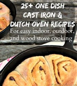 25+ One dish cast iron skillet and Dutch oven recipes. These are perfect for using indoors, as well as outdoor cooking and on the wood stove for when the power is out, being prepared or saving money on your electric bill. These are some great recipes, broken down by main dish and dessert. I can't wait to try some of these.