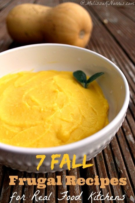 7 Fall frugal recipes every real food kitchen should be making. Seriously, I can't believe I never thought of some of these. If you grew winter squash, you can make the roasted butternut bisque soup for a $1.00, for the whole pot! Read this now for new recipes and stretching the grocery budget during the holidays.