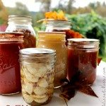 Pinterest pin contains an image of various glass canning jars filled with garlic, tomato sauce, salsa, and beans. Text overlay says