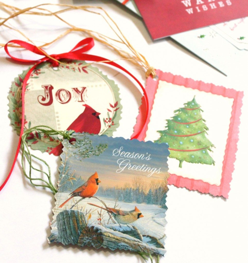 Homemade Vintage Gift Tags from the Great Depression Era. This is the perfect way to re-use Christmas cards.
