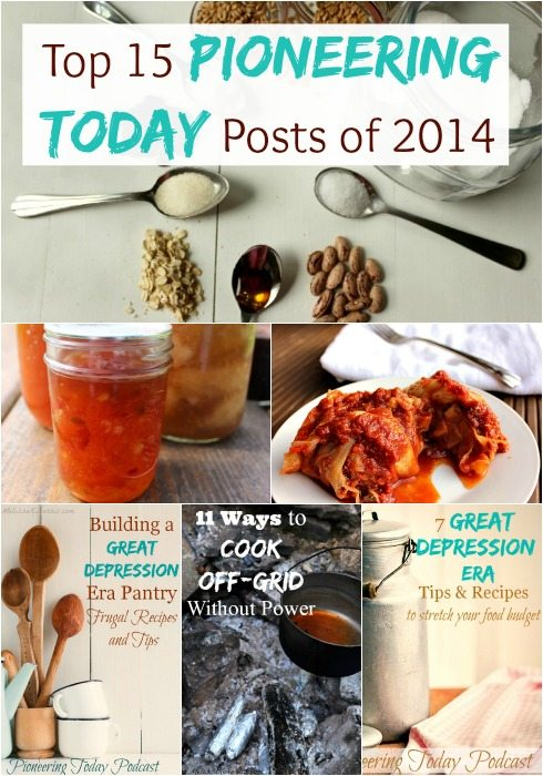 Want to live a more frugal and simple this year? These top 15 Pioneering Today posts will help you from food storage, from scratch cooking, canning, off-grid cooking, and tips and recipes from the Great Depression Era. Great resource of articles. I can't decide which one is my favorite! Read this now for some great inspiration and frugal tips.