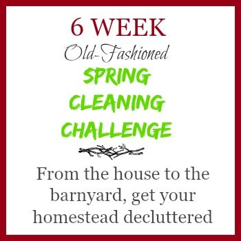 Is clutter spilling into your life and house? Over 6 weeks we'll do an old-fashioned spring cleaning from the house to the barnyard, and everything between. Get your house, food storage, gardening supplies, and barnyard in order once and for all with help from others.