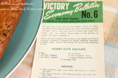 1940's Honey Date Square Recipe