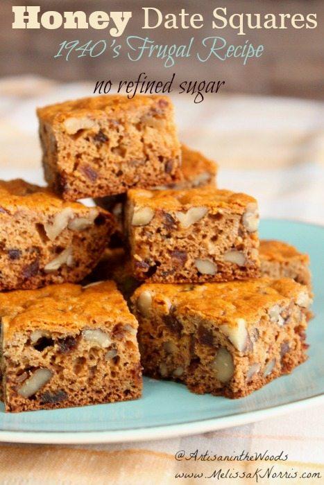 1940's Honey Date Squares Recipe