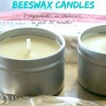 Two tins filled with homemade candles. Text overlay says,