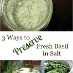 Pinterest pin with three images. Top image is of a jar of basil salt. Bottom two images show the process of preserving basil in salt. Text overlay says,
