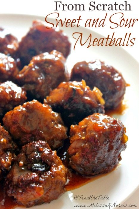 "Plate of sweet and sour meatballs with text overlay that says, ""From Scratch Sweet and Sour Meatballs""."
