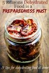 "Close up picture of a glass jar filled with dehydrated tomato slices sitting on a wooden table. Text overlay says, ""5 Reasons Dehydrated Food is a Preparedness Must, 5 Tips for Dehydrating Food at Home""."