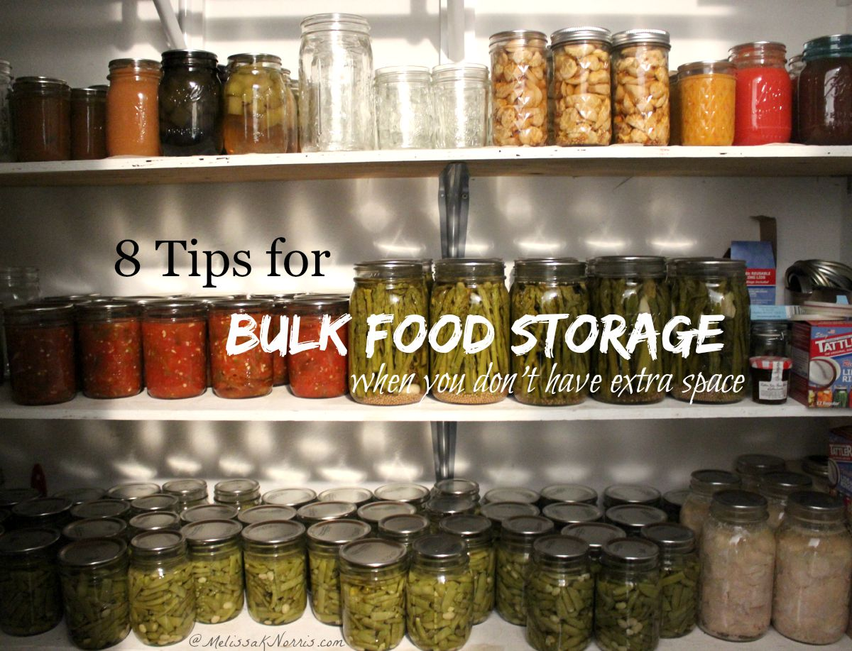 Want to build up a food storage but don't have the space? Learn how to store food in bulk even if you don't have a garage, barn, basement or attic. Great tips no matter what your house size because everyone should have some sort of food storage.