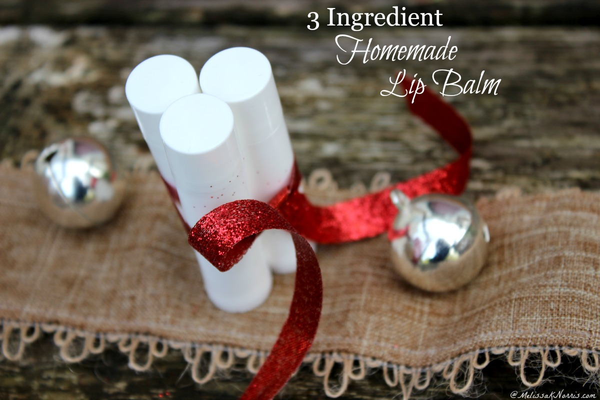Need a frugal gift? This easy homemade lip balm only uses 3 natural ingredients. Step by step tutorial and tips on how to make your own homemade lip balm. Perfect for gifts, especially during the winter months!
