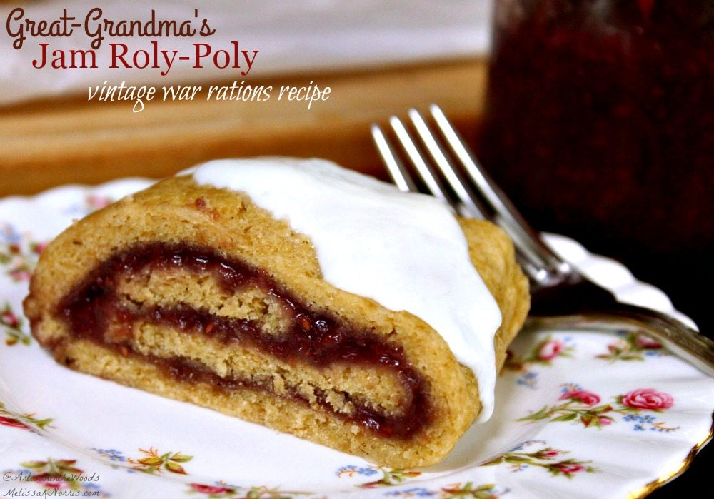 Anyone else love old-fashioned frugal recipes without the processed ingredients? This is her great-grandmother's jam roly-poly recipe made during the war time rationing. You can change the flavor by the jam. This is going in our holiday baking! Great way to use up jam and no extra sugar. Yumm!