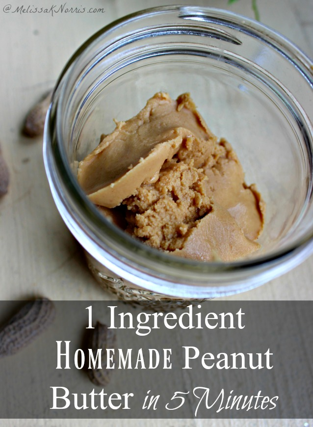 Learn how to make this easy 1 ingredient homemade peanut butter in just 5 minutes! Best part, no oil separation and no high fructose corn syrup or added sugar. Grab the tutorial here!