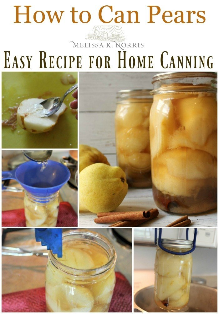 "Collage of images for canning pears with text overlay, ""How to Can Pears: Easy Recipe for Home Canning""."