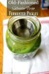 """Mason jar filled with pickles sitting on a towel on a table. Text overlay says, """"Old Fashioned Salt Water Brine Fermented Pickles."""""""