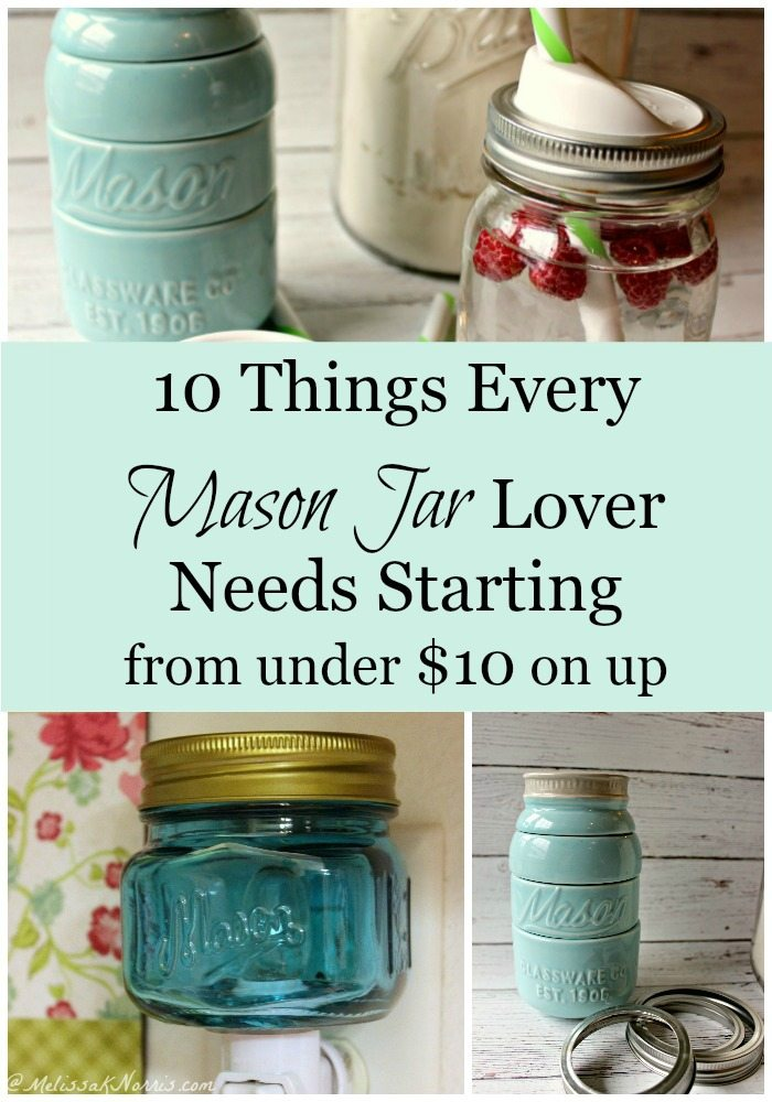 10 things every Mason Jar lover needs. I love these gift ideas for the homesteader or Mason jar addict. I love number one and some great stocking stuffers.