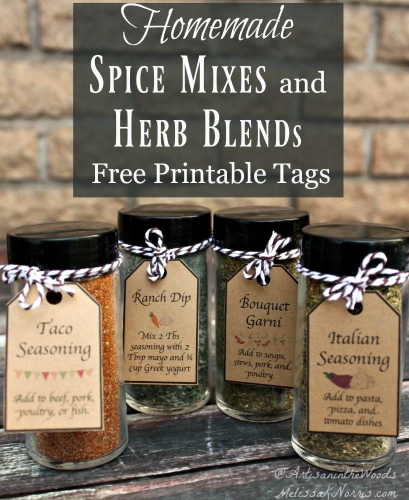 "Four homemade spice blends with tags tied to the lids. Text overlay says, ""Homemade Spice Mixes and Herb Blends: Free Printable Tags""."
