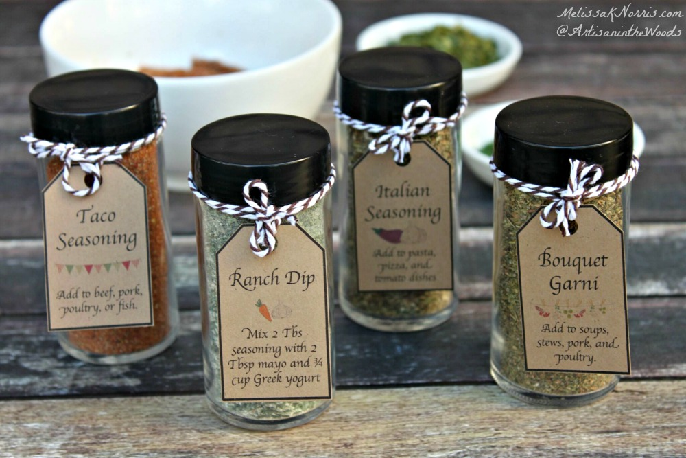 Make your own spice mixes and herb blends at home. Save money and healthier versions, makes great gifts with the free printable tags! Grab the recipes now