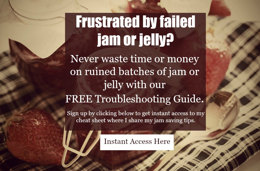 Image of homemade strawberry jam in a jar with text overlay for a free troubleshooting guide to jam making.