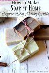 5 bars of homemade soap tied with festive string for gifts. Text overlay says,