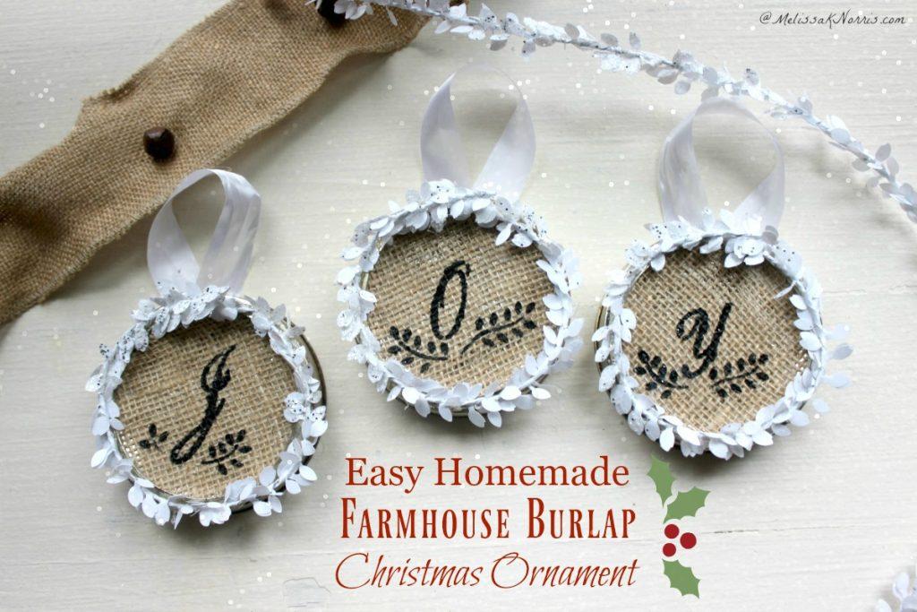 Easy farmhouse burlap christmas ornament tutorial for How to make burlap christmas decorations
