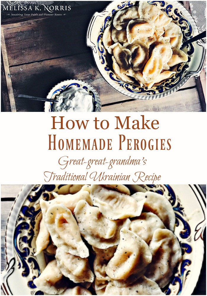 "Pinterest pin with two images. Top image is of a bowl of homemade perogies with a side of sour cream. Bottom image is a close up of a bowl of homemade perogies. Text overlay says, ""How to make homemade perogies: Great-great-grandma's traditional Ukrainian Recipe""."