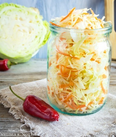 Fermented sauerkraut in a mason jar.