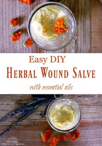 "Pinterest pin with two images. Both images are a different angle of wound healing salve in a jar. Text overlay says, ""Easy DIY Herbal Wound Healing Salve with Essential Oils""."