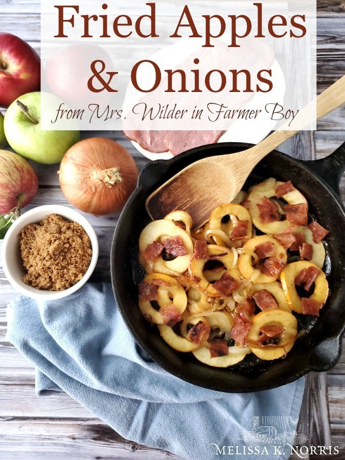 Fried Apples and Onions Recipe, tart apples baked with onions and bacon in a cast iron skillet