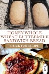 "Pin image with two pictures - two bread pans with dough and a slice of bread spread with jam. Text overlay says, ""Honey Whole Wheat Buttermilk Sandwich Bread"""