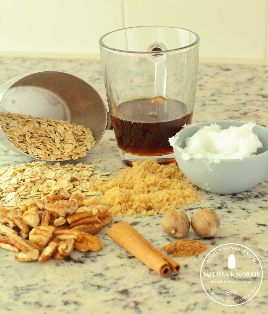 Granola bar ingredients sitting on the counter (oats, nuts, sugar, maple syrup, coconut oil, cinnamon and nutmeg.