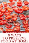 "Dehydrated tomato slices on a dehydrator tray. Text overlay says, ""9 Ways to Preserve Food at Home""."